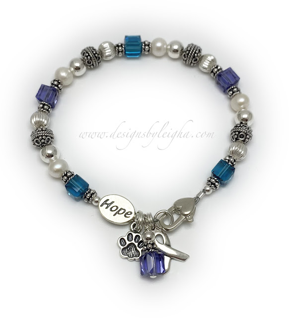 Suicide Awareness and Prevention - HOPE Charm Bracelet with a Paw Print Charm