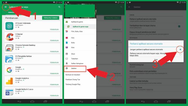 Langkah Pengaturan Pada Android Supaya Applikasi tidak Update