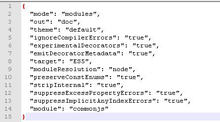 typedoc configuration typeconfig.json