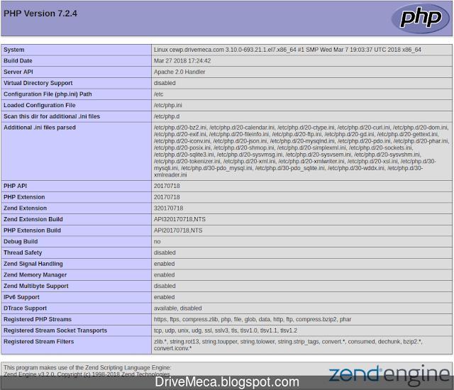 Por medio de esta pagina podemos verificar version de php y sus modulos