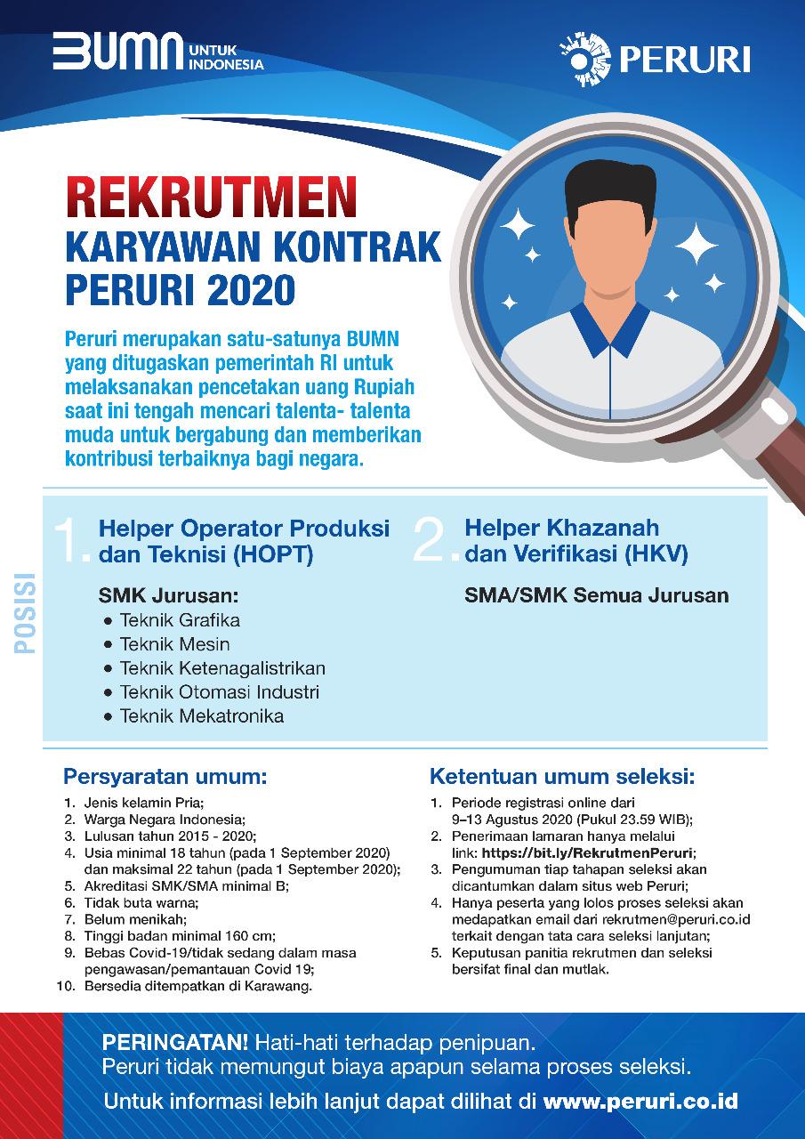 Rekrutmen Karyawan Kontrak PERURI 2020