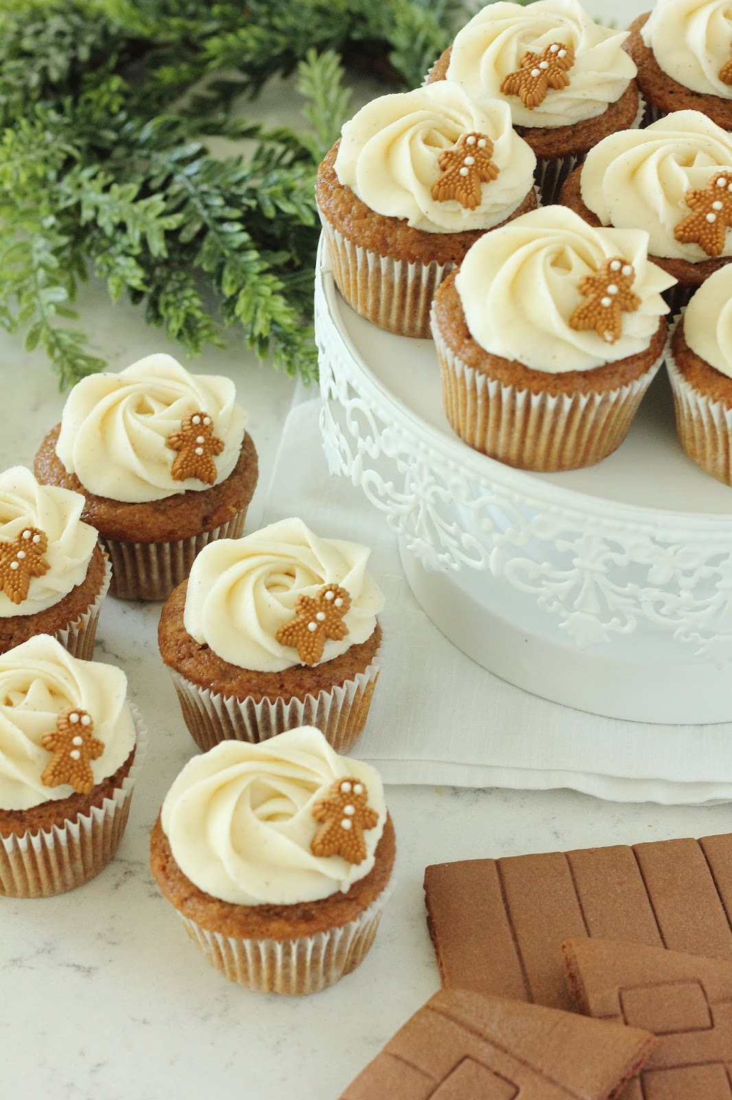 Gingerbread Cupcakes With Spiced Almond Cream Cheese Frosting