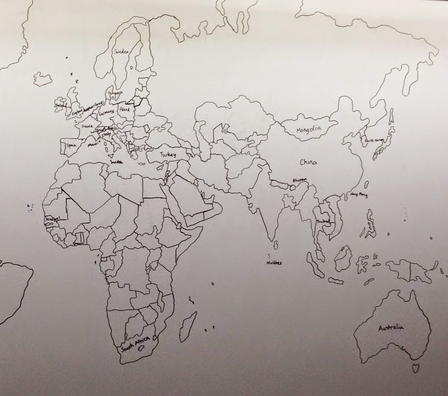 """An 11 year old boy with autism came into my daughters college class today and drew this from memory"" - 11-Year-Old Boy With Autism Draws Detailed World Map Entirely From Memory"