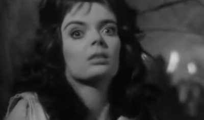 A woman with dark hair looks in fear into the camera.