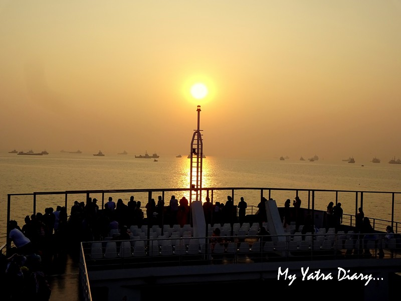 Beautiful sunrise view M2M Ro-Ro ferry Mumbai to  Alibagh