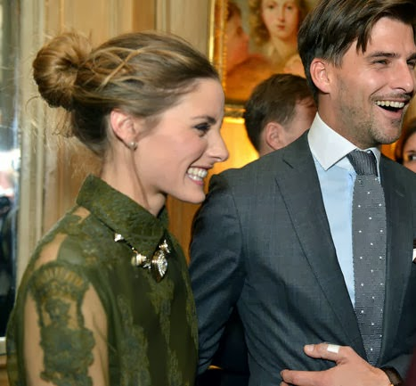 Olivia Palermo with Johannes Huebl at the Cocktail Dinatoire Of German VOGUE In Honor Of Mario Testino