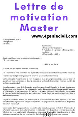 Exemple de lettre de motivation pour étudiant master pdf