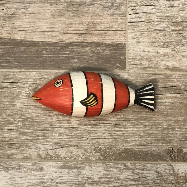 Orange and Balck Fish Wooden Wall Decor