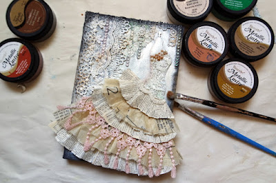 Tutorial: MixedMedia Vintage Paper Dress on Book Cover