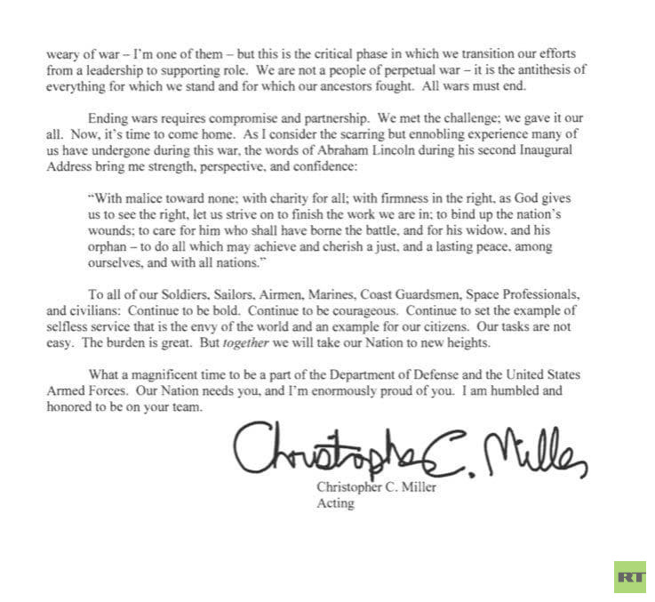 """With the documents, the acting US Secretary of Defense Christopher Miller sends a message to the American forces: """"The time has come!"""""""