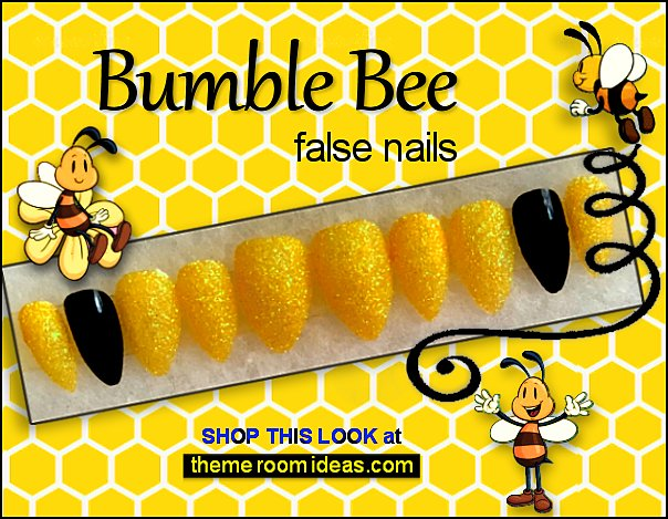 bumble bee false nails bee nails honey bee nail decorations bee nail art bees