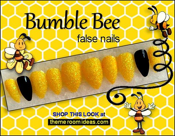 bumble bee false nails bee nails honey bee nail decorations bee nail art bees