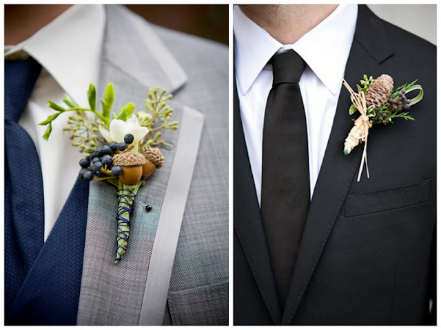 incorporate the season into your groom's boutonniere via Oh Lovely Day