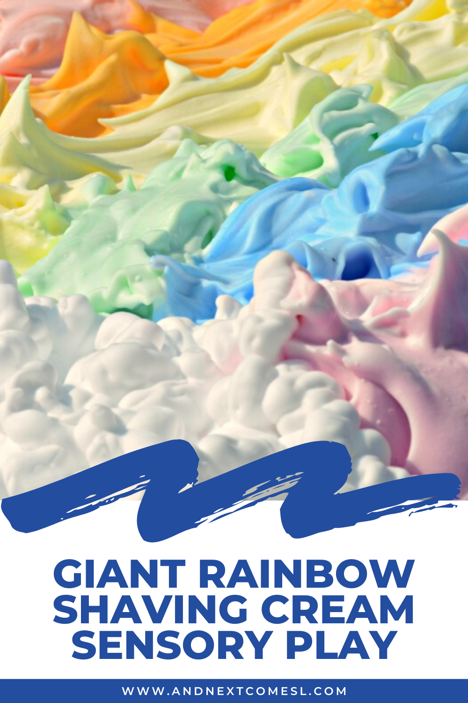 Giant shaving cream rainbow & messy sensory play activity for kids to do outdoors