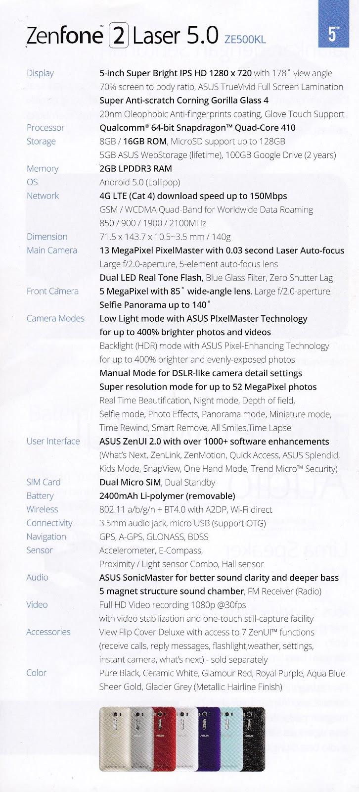 Spesifikasi Handphone ASUS Zenfone 2 Laser