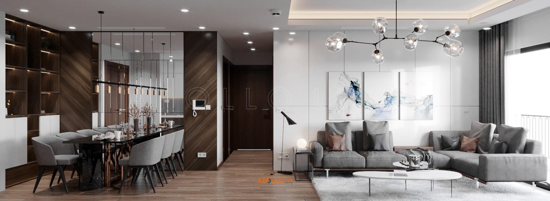 Thiết kế nội thất căn hộ 3 phòng ngủ (105m2) Hinode City 201 Minh Khai