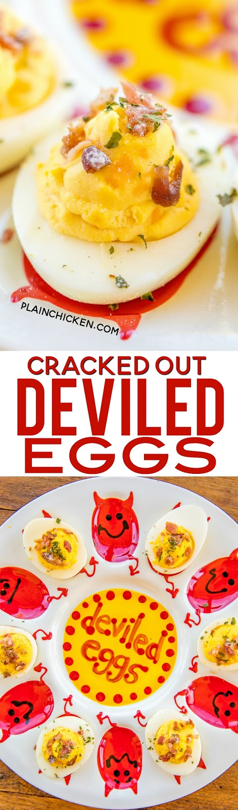 Cracked Out Deviled Eggs - deviled eggs loaded with cheddar, bacon and ranch. These things are dangerously DELICIOUS!!! Can make ahead and refrigerate overnight. Hard boiled eggs, mayonnaise, ranch dressing, cheddar cheese, vinegar, salt, mustard, pepper, onion powder and bacon. SO good!! #appetizer #eggs #hardboiledeggs #bacon