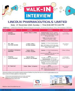 Lincoln Pharmaceuticals Ltd In Ahmedabad  Walk In interview ITI, Diploma, Any Graduate, Bsc, B.Pharm, Msc or M.Pharm