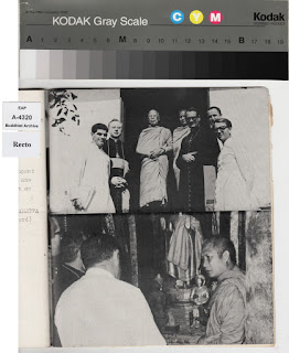 Lao Buddhist Photo Archive - Christian clergy representatives from the Vatican, led by S.E Mgr Giovanni Moretti, visited Luang Prabang and met The Supreme Patriarch of Laos, Holiness Dhammayana Maha Thela at Vat Mai Suvannaphumaram on Jan 15th, 1972.