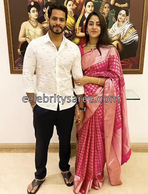 Nikhil Gowda wife Revathi Silk saree
