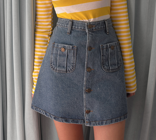 Patch Pocket Buttoned Front Denim Skirt