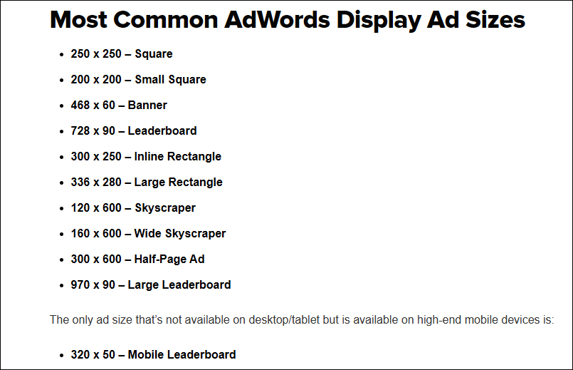 Google Display Ads Sizes
