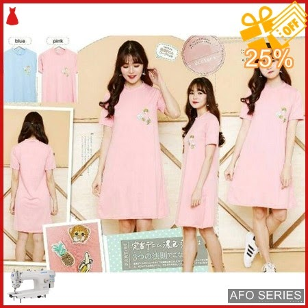 AFO471 Model Fashion Monaple Emboidery Dress Modis Murah BMGShop