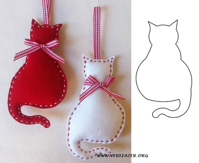 adornos fieltro gatos con moldes