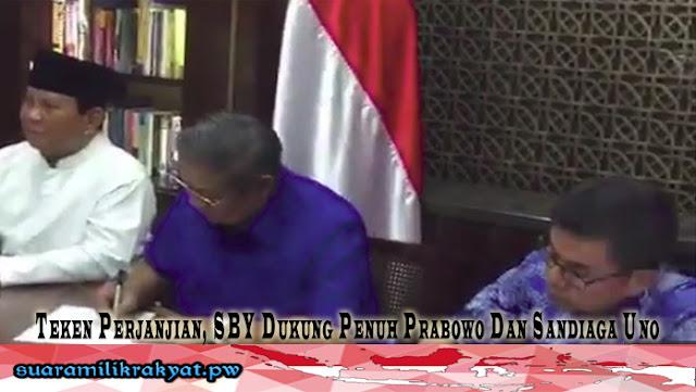 Teken Perjanjian, SBY Dukung Penuh Prabowo Dan Sandiaga Uno
