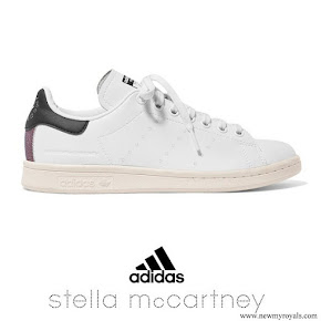Meghan Markle wore STELLA MCCARTNEY + adidas Stan Smith grosgrain-trimmed faux leather sneakers