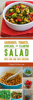 Garbanzo, Tomato, Avocado, and Cilantro Salad with Lime and Chile Dressing found on KalynsKitchen.com.