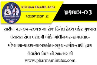 Female Health Worker Gandhinagar/Ahmedabad/Mehsana/Patan/Barkantha/Bharuch/Narmada/Tapi by DPSSC Answer key (Date 23-02-2014 )