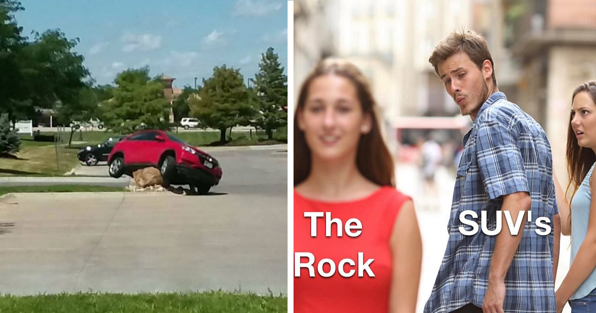 Someone Placed A Giant Stone To Prevent Drivers From Cutting The Corner, And The Results Were Hilarious