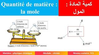 La quantité de matière: la mole tronc commun.