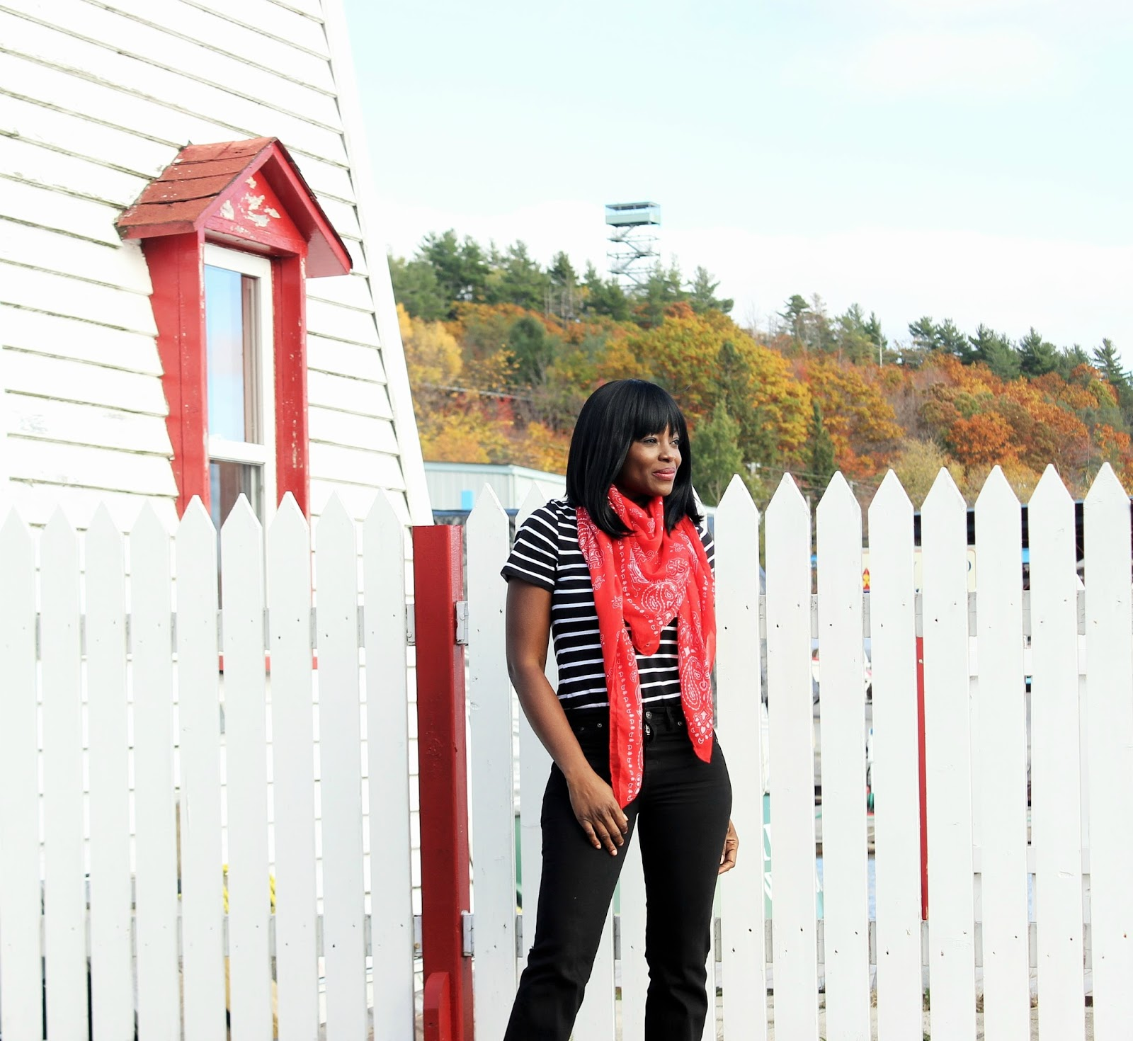 STRIPES, BELL BOTTOMS AND A RED SCARF AT THE LIGHTHOUSE IN PARRY SOUND MARINA