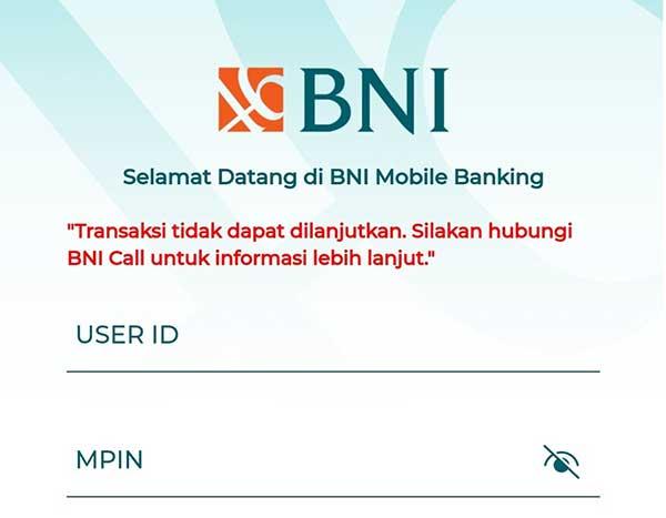 Solusi BNI Mobile Banking Transaksi Tidak Dapat Dilanjutkan Login Biometrik