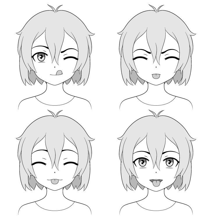 Gadis anime menjulurkan lidah gambar ekspresi berbeda