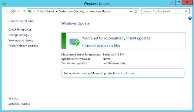 تم تمكين تحديثات ويندوز فهناك تحديثات تنتظر.