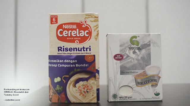perbandingan kemasan cerelac risenutri dan tepung gasol