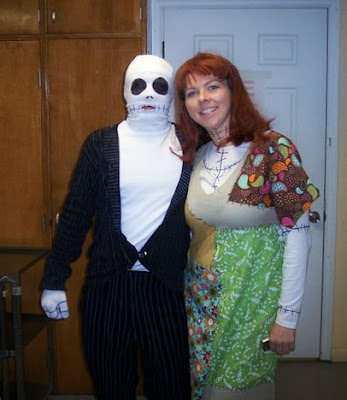 dressed up in homemade jack and sally Halloween costumes from Nightmare Before Christmas