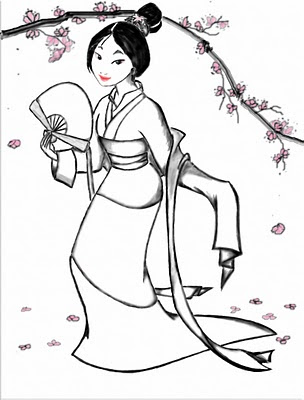 Chinese Princess Mulan Coloring Pages To Kids