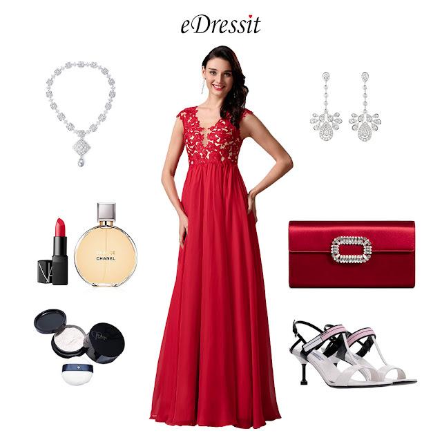 Elegant Red Lace Applique Evening Dress Maternity Dress