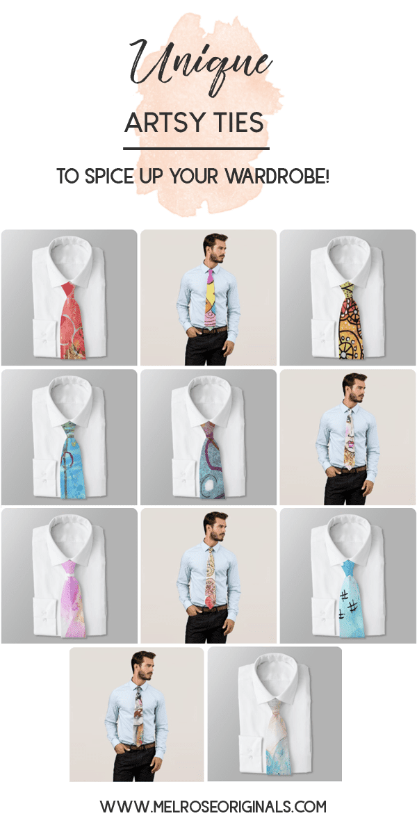 product grid of cool artistic ties to spice up your wardrobe