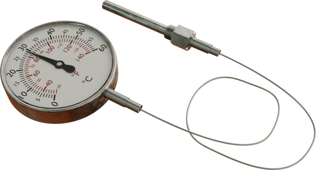 Termometer diisi gas dengan tabung kapiler fleksibel