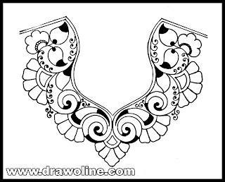 How to latest 2020 blouse neck design sketch on tracing-paper-/ aari trac paper design