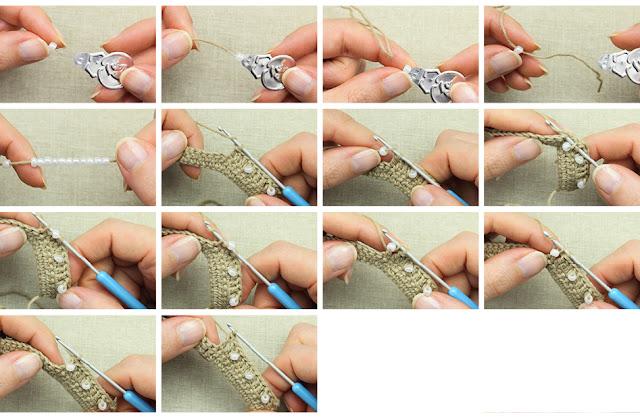 tuto pour apprendre à crocheter des perles dans des brides