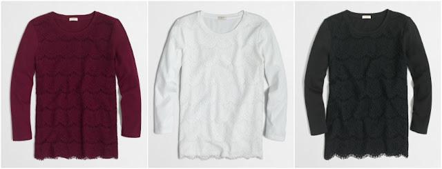 J. Crew Factory Lace-Front T-Shirt $15 (reg $55)