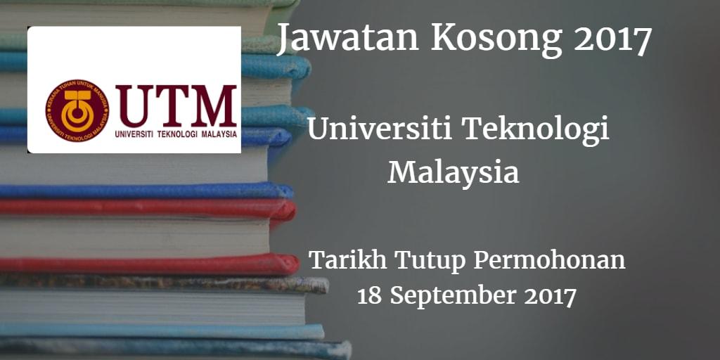 Jawatan Kosong UTM 18 September 2017