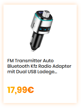 FM Transmitter Auto Bluetooth Kfz Radio Adapter mit Dual USB Ladegerät für Handy (Silber)