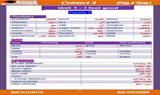 اقوى شرح وامتحانات على الوحدة الاولى لغة انجليزية كونكت 4 الصف الرابع الابتدائى الترم الاول 2022 connect 4 unit 1